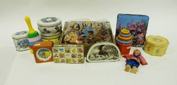 Vintage wooden jigsaw puzzle depictinga cow jumped over the moon nursery rhyme, other vintage toys,