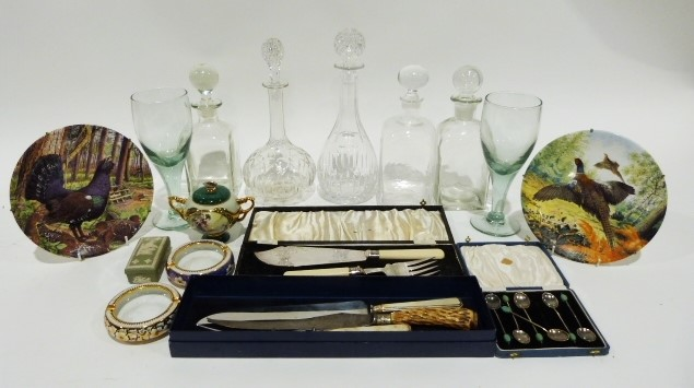 Large pressed glass decanter, two glass decanters of square form, a pair of large wine glasses, a - Image 3 of 3