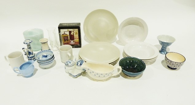 Quantity of pottery and ceramics including blue and white candlesticks and vases and various printer - Image 2 of 3