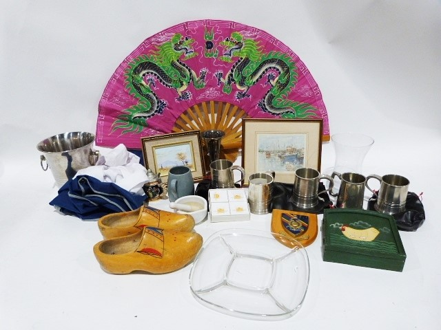 Large modern two handled wine cooler, a quantity of drinking glass, textiles, etc. and a gentleman's