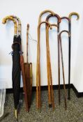 Bagatelle board, a silver-mounted horn handled walking stick, another with silver mount, other