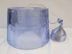 Kartell pale blue transparent plastic ceiling light, designed by F.Laviani Condition ReportAppears