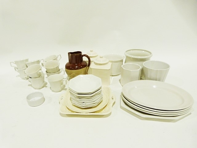 Denby stoneware jug, a quantity of white dinnerware, a quantity of drinking glasses and various - Image 4 of 4