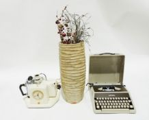 Vintage Goblin teasmadewith clock, light fitting, kettle and teapot, a typewriter and a large