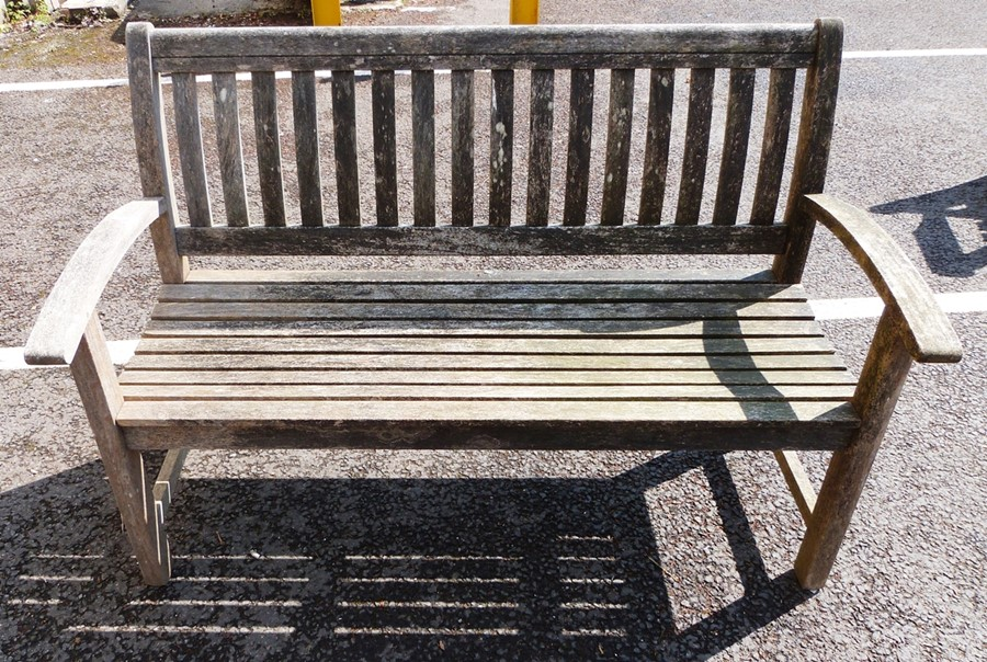 Hardwood garden bench with slatted back and seat, 139cm wide