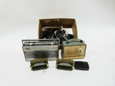 Vintage Roberts radio R900, another vintage radio and various other items (3 boxes)