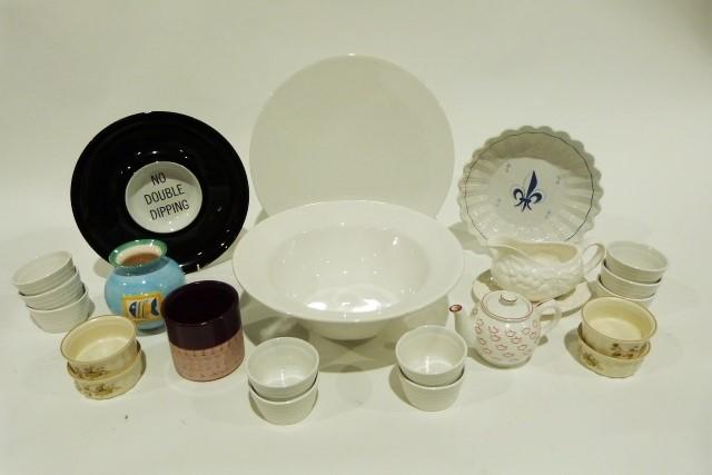 Set of blue glazed earthenware bowls, large plain white bowl, a white glazed platter and various