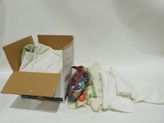 Two boxes of assorted textiles including scarves, blankets, bedlinen etc.(2 boxes)