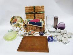 Amethyst glass goblet, Portmeirion Botanic Garden mugs, large glass vase, assorted textiles, etc. in