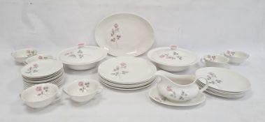 Royal Doulton porcelain part dinner service'Pillar Rose' pattern, to include dinner plates, side
