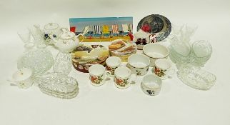 Set of Royale bone china mugs, assorted drinking glasses and vases, cutlery andvariousother