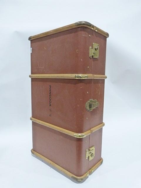 Vintage wooden bound trunk with added castors - Image 2 of 2