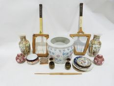 A large Oriental style jardiniere, a pair of oriental style waisted vases and two vintage wooden