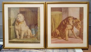 Number of framed prints of dogs, taken from a book and similar of horses (2 boxes)