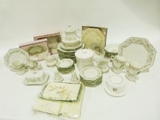 Quantity of Johnson Bros tableware decorated with roses and ribbons to include bowls, biscuit jar