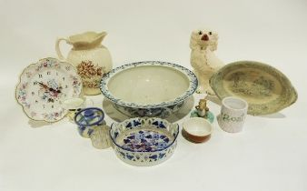 Large Staffordshire spaniel, a blue and white wash bowl, a Victorian ewer, a quantity of Adams