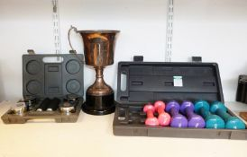 Set of One Body handweights, boxed,three pairs of dumbbells, boxed and a trophy