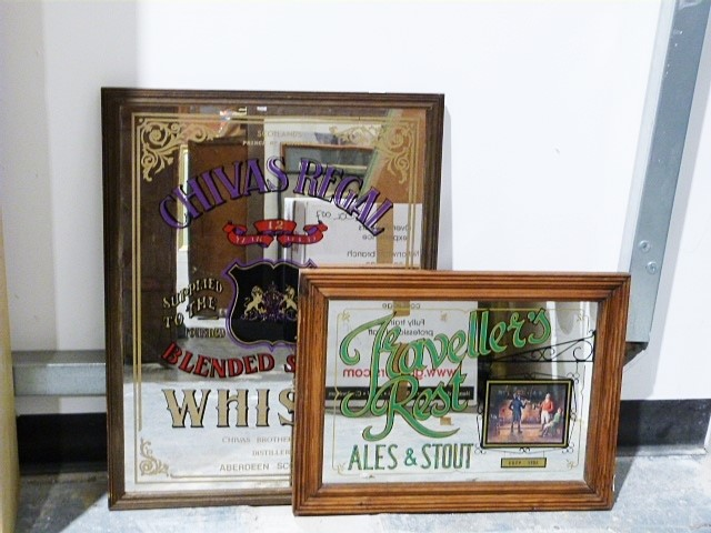 Traveller's Rest advertising mirror and a Chivas Regal whisky mirror (2)