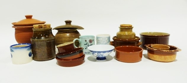 Quantity of pottery and ceramics including blue and white candlesticks and vases and various printer - Image 3 of 3