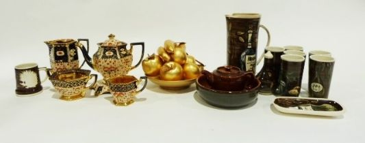 Assorted jardinieres, a gold lacquer fruit bowl and model fruit, a copper lustre jug and other items