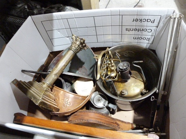 Copper coal scuttle, a brass jam pan, a pair of brass firedogs, copper jardinièreand various - Image 2 of 2