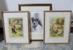 After B. Butler Pair of framed prints of children with animals and two other prints(5)
