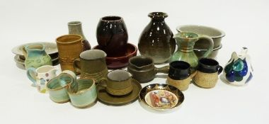 Glass vase of squat circular form, a quantity of drinking glasses, various studio pottery vases,