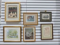 Quantity of framed prints, a wooden easel, a two handled wooden tray, assorted lampshades, etc.(3