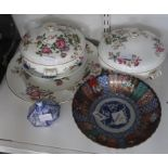 Two Wedgwood 'Charnwood' tureens and matching circular plateandother ceramic items including Imari