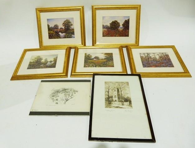 Framed etching and a set of five framed prints