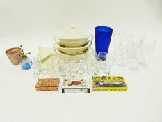 Box of assorted drinking glasses, a wooden crate and other items (4)