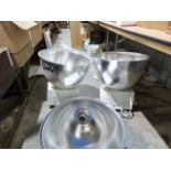 Set of three industrial ceiling lights with fittings and large aluminium dome shades
