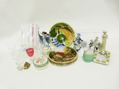 Glass decanter, two wire ceiling light frames, a basket of assorted items, various crockery and