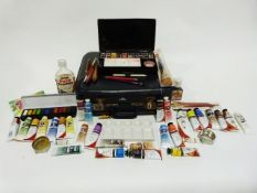 Vintage KLM suitcase and contents of assorted painting equipment including tin artist's box, ceramic