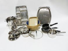 Two large vintage mixing bowls and other kitchenware including saucepans, stainless steel etc.