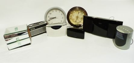 Radio alarm clock, a barometer, a wall clock and various other items (2 boxes)