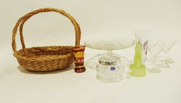 Two boxes of glassware including drinking glasses, a ruby glass vase and a wicker basket (2 boxes