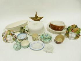 Assorted ceramics including an ironstone jug, an early Victorian teapot, a Wedgwood jug, etc. (2