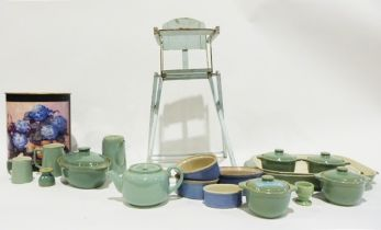 Box of Adams green tea and dinnerware and other items, a composition and wood crib scene and a large
