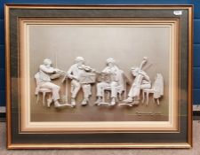Print of musicians with 3D effect, signed Reinhard 1976