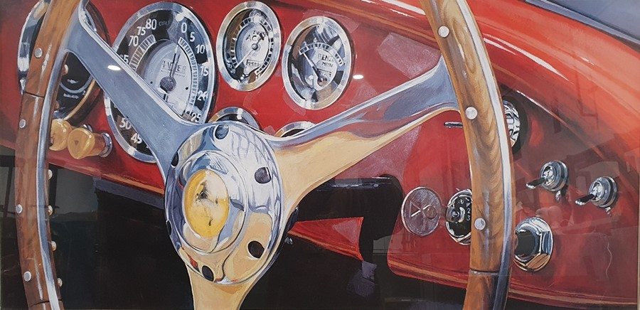 Colour prints Ferrari dashboard and steering wheel and another showing the back of the car and - Image 3 of 4