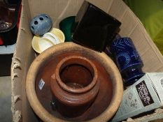Large painted terracotta garden planter, a stoneware storage jar and assorted vases, etc. (1 box)