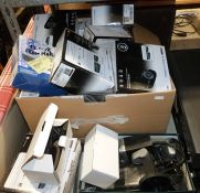 Quantity of HD bullet cameras, CCTV cameras (boxed), an Olympus Super-Zoom 115 camera, two SLXRF