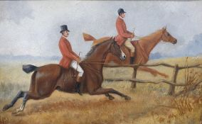 Unattributed Oil on canvas Huntsmen approaching a fence, 27 x 42cm within a carved wooden frame with