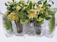 Pair of large glass vases, three other modern glass vaseswith faux-flowers to include hydrangea,
