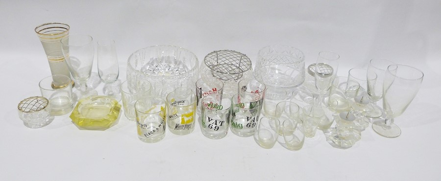 Selection of glasswareto include cut glass wines, rose bowl, advertising tumblers including Haig - Image 2 of 3