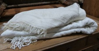 Two cotton cream coloured double bedspreads (2)