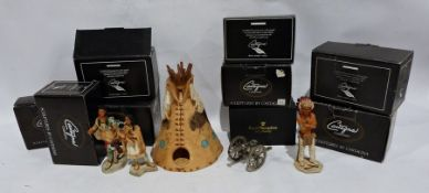 Large quantity of Castagna Collection, sculptures by Castagna, native Americans, ceramic models of