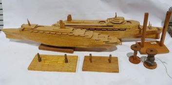 Three-masted galleon made from matchsticks, a liner, and another and a ferryboat with various stands