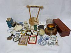 Cow hide string instrument, a pottery teapot, ceramic bowls, collectables, etc. (2 boxes)